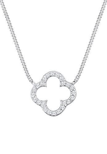Elli Damen Schmuck Halskette Kette mit Anhänger Kleeblatt Glücksbringer Elegant Glamourös Silber 925 Zirkonia Weiß Länge 40 cm