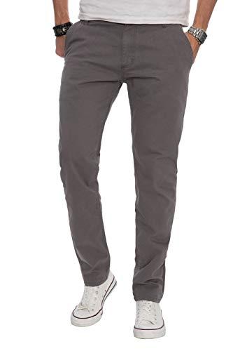 A. Salvarini Herren Designer Chino Stoff Hose Chinohose Regular Fit AS016 AS-016-Grau-W32-L30