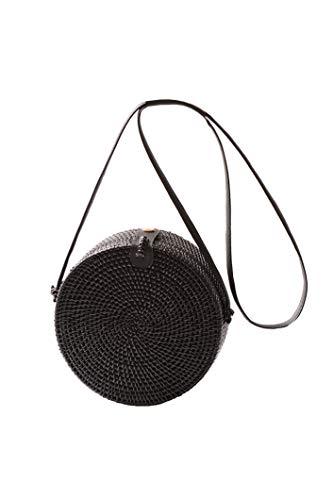 dgefertigt Rattan Tasche Kreis Handgewebt Stroh Tasche Korb Sommer-Strandtasche Schultertasche Umhängetasche schwarz ()
