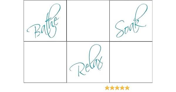 12 x Bathe Relax Soak Tile transfer stickers kitchen bathroom.