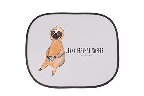 Mr. & Mrs. Panda Auto Sonnenschutz Faultier Kaffee - 100% handmade in Norddeutschland - Genießer, erster Kaffee, Familie, Geschenk, Lieblingstier, Kaffee, Kunstfaser, Sonnenschutz, PKW, Faultiere, Rücksitz, Frühaufsteher