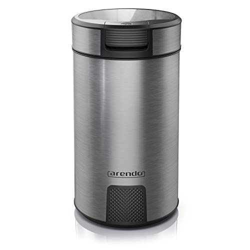 e Edelstahl | elektrische Gewürzmühle Coffee Grinder Schrotmühle Nussmühle | Push Button | Edelstahlmesser | für Kaffeebohnen Nüsse Gewürze Getreide | cool grey ()