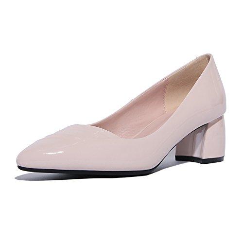 Damen Pumps Slip On Spitz Zehen Lackleder Anti-Rutsche Gummi Sohle Weich Leichtgewicht Einfache Bequeme Arbeitsschuhe Pink