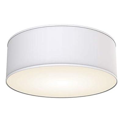 B.K.Licht Deckenleuchte 2-flammig Stoffleuchte weiß rund Stoff Deckenlampe Deckenstrahler Schlafzimmerleuchte Wohnzimmerleuchte