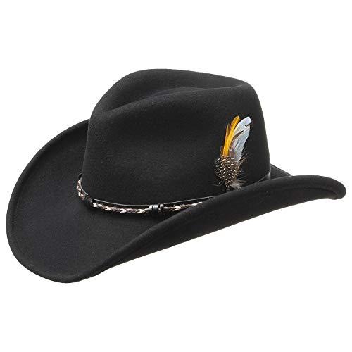 Stetson Amasa Wollfilz Westernhut für Damen Herren Chesney mit Lederband Sommer Winter (XL (60-61 cm) - schwarz)