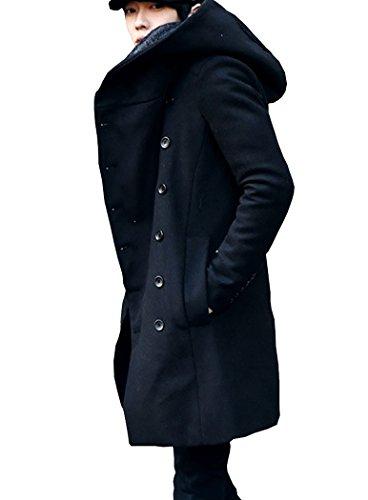 Seemannsjacke Mantel Herren Zweireiher Lange Pea Coat Wolle Mischung Tweed Jacke Cabanjacke Trench Schwarz (Jacke Mantel Mischung Wolle)