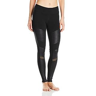 Alo Yoga Women's Moto Legging Pants, Black/Black Glossy, M