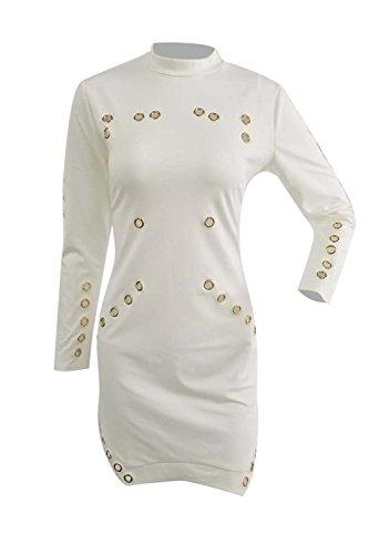 Le Donne In Giro Collo Alto Basso Irregolare Occasionale Eyelet Slim Bodycon Mini Vestito White