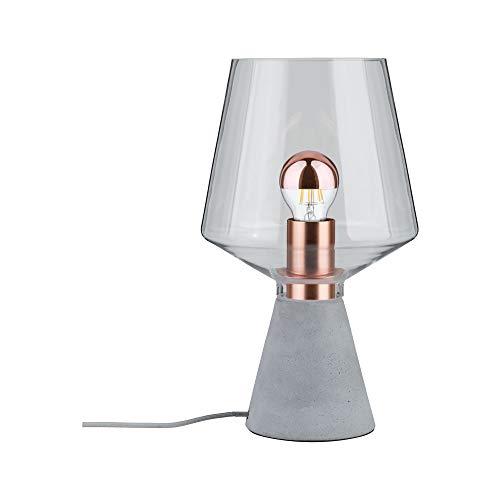 Paulmann 79665 Neordic Yorik Tischleuchte max. 1x20W Tischlampe für E27 Lampen Nachttischlampe Klar/Grau/Kupfer Glas/Beton/Metall ohne Leuchtmittel -