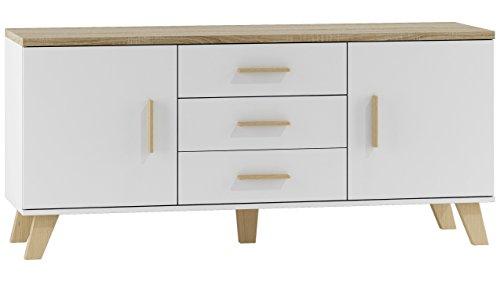 JUSTyou Latta 150 2D3S Kommode Sideboard Schrank (HxBxT): 69x150x45 cm Weiß Matt  Sonoma Eiche