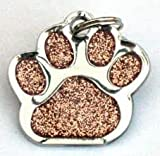 Glitter Pet Tag Gold Paw Print Design 26mm S/Steel From Melian - MESSAGE US WITH TEXT REQUIRED