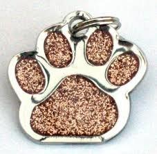 Con purpurina Mascota Etiqueta diseño de huellas de oro 26mm S/acero de...