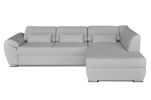 Windsor & Co Droit Convertible Canapé d'Angle, Tissu, Gris Clair, 267 x 186 x 76 cm