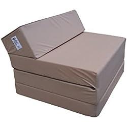 Matelas lit fauteuil futon pliable pliant choix des couleurs - longueur 200 cm ( 1009-Beige-Microfiber)