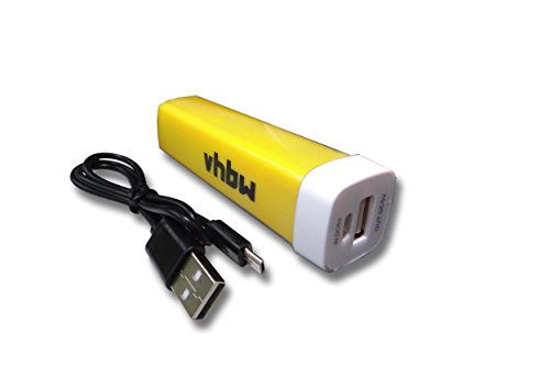 vhbw Powerbank mobiles Ladegerät Ladekabel Micro USB Akku 2200mAh gelb für T-Mobile, Telekom, Thalia, ThL, Tolino, Toshiba, Trekstor