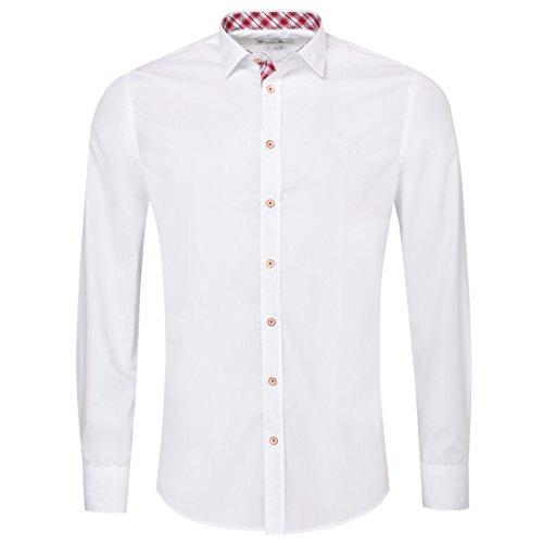 Gweih & Silk Trachtenhemd Body Fit Fred Zweifarbig in Weiß und Rot, Größe:L, Farbe:Weiß