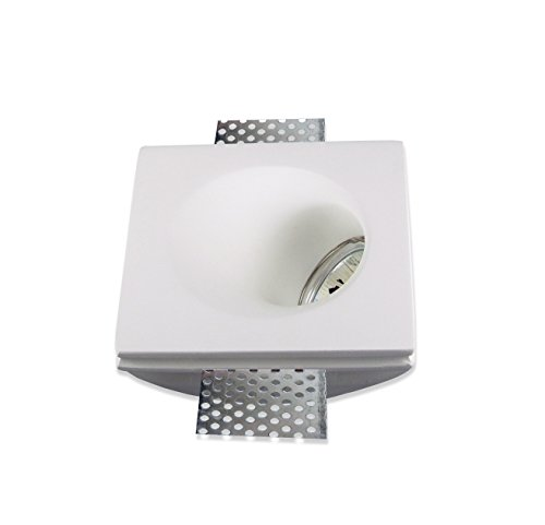 Spot encastrable, carré, incliné à 45°, en plâtre résine, pour éclairage de courtoisie, douille d'ampoule GU10 ou GU5.3 (Modèle : 2021)