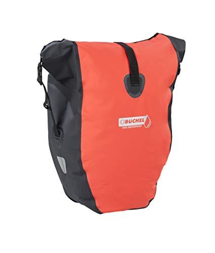 Büchel Fahrradtasche für Gepäckträger, 100{450b07ac4fdc3a5a0d849b3db359f3b741216ad1345cecbfd4c727e7c4e1f9d4} wasserdicht, schwarz/rot, 81518002