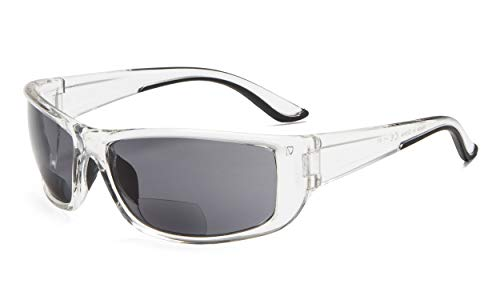 Eyekepper Sports Bifokal Sonnenbrille +2.00 Stärke Rechteckrahmen Lesung Sonnenbrille (Transparenten Rahmen/Grau Linse)