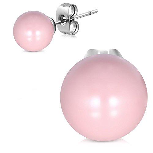 Bungsa Perlen Ohrstecker pink 8mm - 1 Paar Edelstahl (Ohrringe Ohrhänger Creolen rosa Pearl Ohrschmuck Ohrklemmen Damen Frauen Herren Mode)
