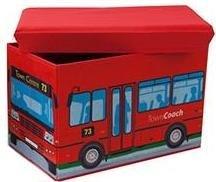 Storage Box Kids Seat Fold Away Red With town bus Design