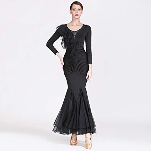 Z&X Modern Dance Kleid für Frauen große Pendel Rock Ballsaal Kostüm Wettbewerb Milch Seide / 30D Chiffon,S