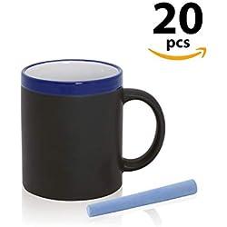 Tazas al por mayor. Lote de 20 Tazas Cafe o te Pizarra de cerámica con tizas incluidas