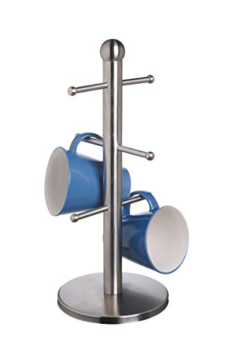 Master Class Mug Tree with Six Hooks, Stainless Steel