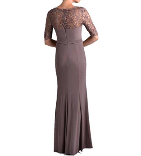 Charmant Damen Schwarz Chiffon Lang Brautmutterkleider Abendkleider Ballkleider mit Spitze Langarm Neu Dunkel Grau
