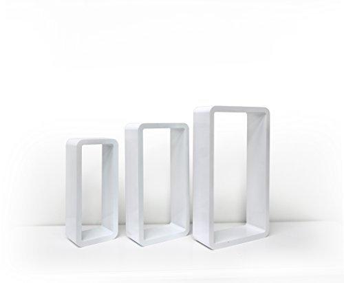 Mobili rebecca® set 3 pezzi mensole da parete rettangolari legno grigio chiaro moderno cucina camera soggiorno (cod. re4434)