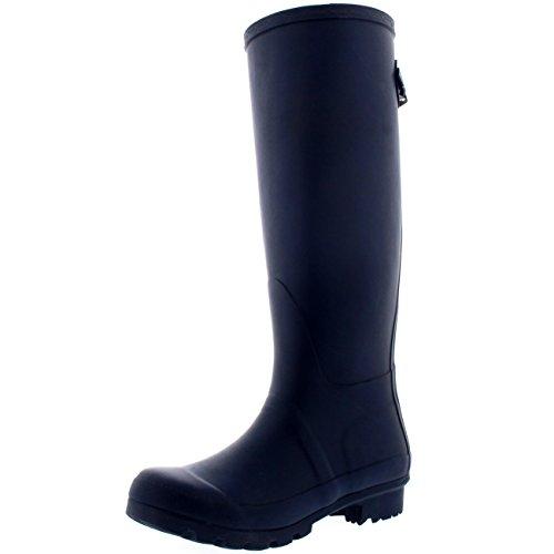 Gummistiefel Regen Winter Tall Stiefel Adjustable Wellies Back Damen Marine SFCqY4gS