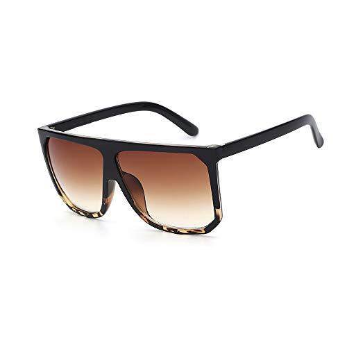 Zbertx Sonnenbrille Für Frauen Designer Mode Übergroße Vintage Sonnenbrille Sqaure Sonnenbrille Retro Weibliche Flache Brillen,Black and Leopard