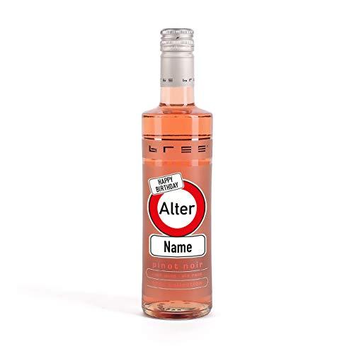 Herz & Heim® Kleines Weingeschenk zum Geburtstag mit persönlichem Aufdruck im Verkehrszeichen Etikett - kleiner Bree Wein (1 x 0.25 l) Rosé