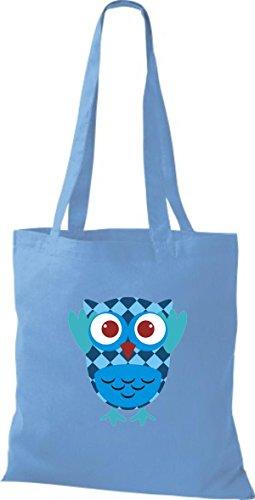 ShirtInStyle Jute Stoffbeutel Bunte Eule niedliche Tragetasche mit Punkte Karos streifen Owl Retro diverse Farbe, schwarz hellblau