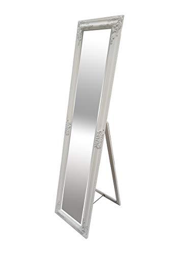 LEBENSwohnART Standspiegel Domingo 160x40cm Pur-Weiß Ankleidespiegel Ganzkörperspiegel Spiegel