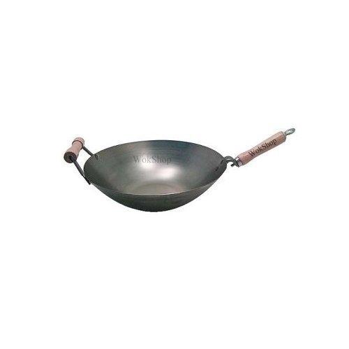 14 inch Carbon Steel Wok w/ Helper Handle (round bottom) USA made by Wok Shop