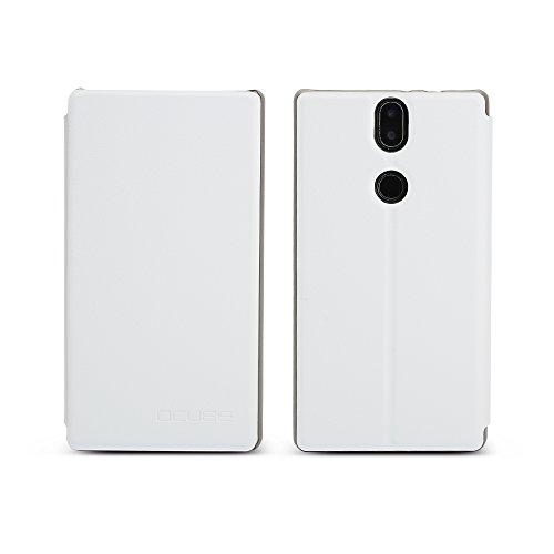 KuGi für Umidigi Umi Crystal Hülle, Hochwertiger Ultra dünne Klappschutzhülle PC Leder, Schmutzig beständig,Bequemes Handgefühl mit Standfunktion für Umidigi Umi Crystal Smartphone. (Weiß)