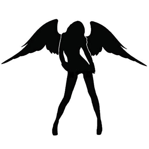 vige Engel & Teufel Muster Auto Aufkleber Reflektierende Sexy Schönheit Frauen Auto Aufkleber Vinyl Aufkleber für Autofenster LKW Motorräder - schwarz