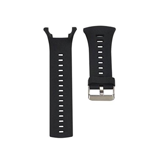 Kingko® Luxus Gummi Uhr Ersatzband Band für SUUNTO AMBIT3 PEAK / Ambit 2 / Ambit 1 (Schraubverschluss nicht im Lieferumfang enthalten) (Schwarz) (Interlock Nadel Aus)