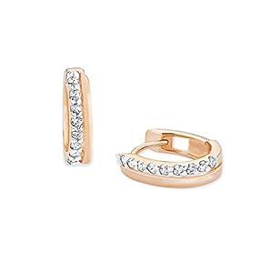 amor Creole für Damen 925 Sterling Silber rosévergoldet Zirkonia weiß Weiß