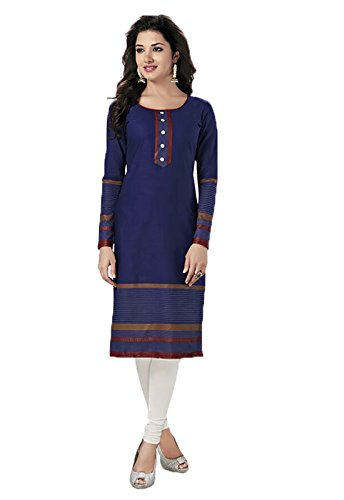 Ishin Cotton Blue Printed Party Wear Wedding Wear Casual Wear Festive Wear New Collection Latest Design Trendy Women Unstitched Kurti/Kurta Fabric (Only Kurta/Top Fabric).