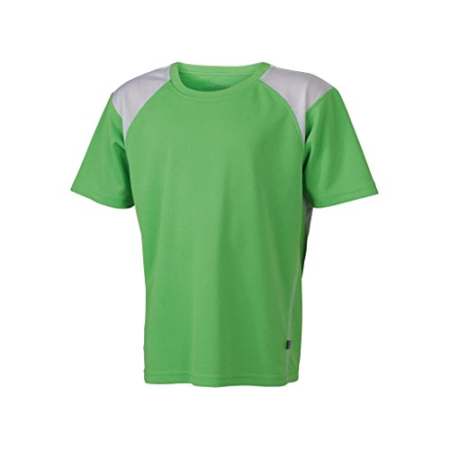 JAMES & NICHOLSON Atmungsaktives Laufshirt für Kinder Lime-Green/White