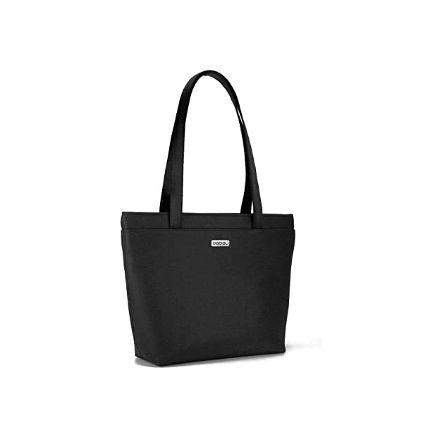 Black tote bag with light inside. With 6 inside pockets and strap made of recycled seatbelt. - handmade-bags