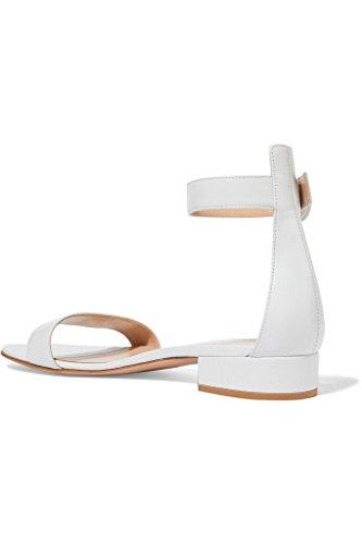 EDEFS Damen Offener Zehe Knöchelriemchen Sandalen Flache Sommer Schuhe Weiß Größe EU44 - 3