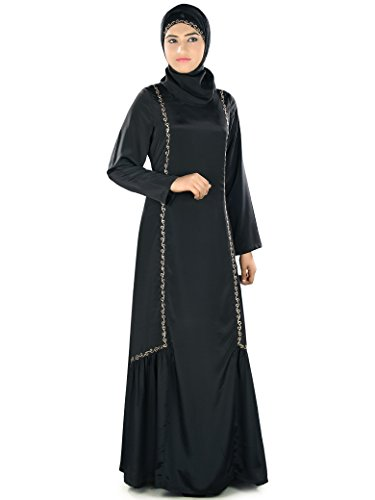MyBatua Embroidered Fathima Abaya Black Crepe