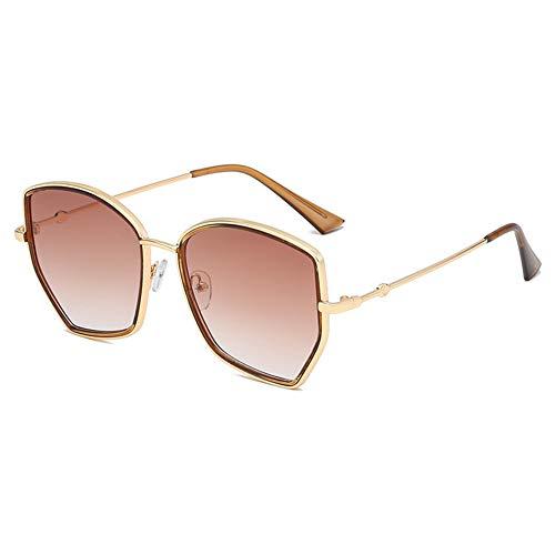 Z&HA Frauen Sonnenbrillen Oversized Hexagonal Metal Frame and Gradient Linsen UV400 Schutzbrillen für das Reisen,GraduatedBrown