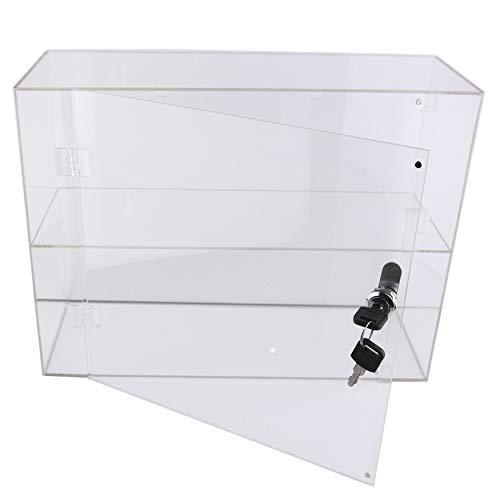 PC3721 @ Eine 2-Fach-Vitrine aus hochglänzendem, klarem Acryl mit Fronttür und Sicherheitsschloss (300 x 400 x 150 mm) (Klare Kunststoff-vitrine)