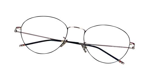 Lensport Eyewear Royal Clear Lens Titanium Silver Black Round Spectacles for Women