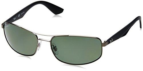 RAYBAN Herren Sonnenbrille RB3527, Matte Gunmetal/Polardarkgreen, One Size (61)