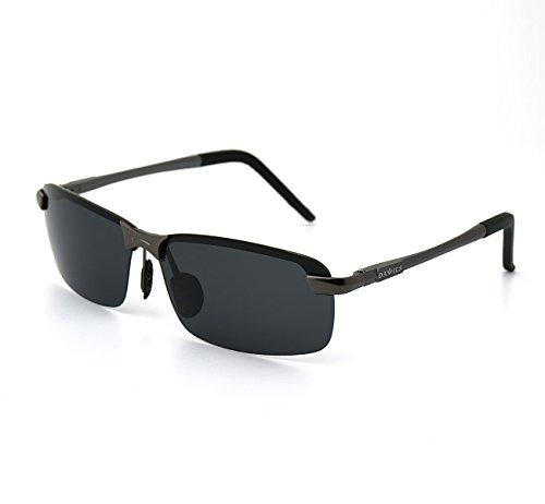 DAWILS Herren Polarisiert Sonnenbrille UV400 Gläser Al Mg Rechteckige Brille